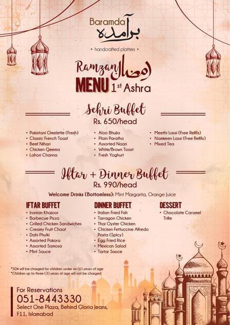 Ramadan Restaurant Guide Islamabad 2018 - Best Iftar and